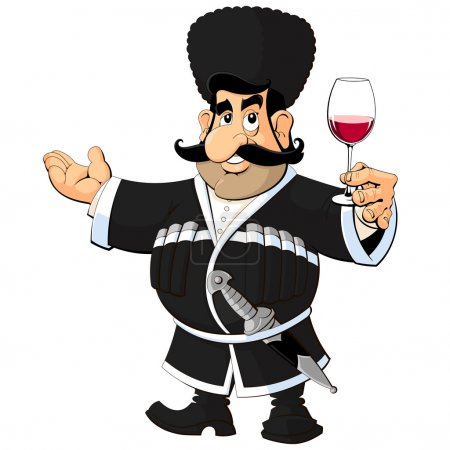 Caucasian man in national dress with a glass of wine.