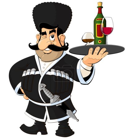 Caucasian man in national costume offers wine and brandy.