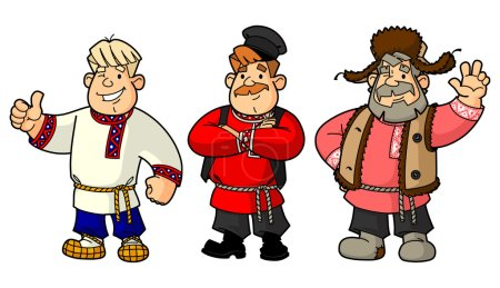 Russian men in their national costumes. From a large set of images.