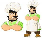 Cartoon Caucasian Chef invites you to lunch