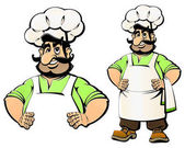 Cartoon Caucasian Cook invites you to lunch