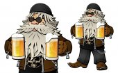 Old bearded biker with beer in glass mugs Cartoon character