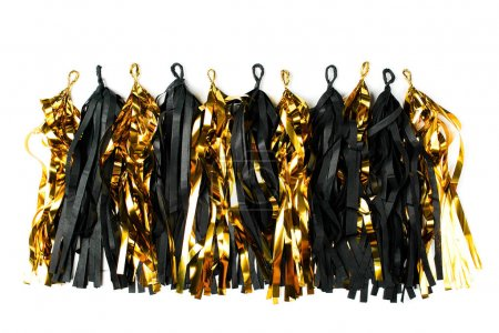 Black and gold fringe tassel garland