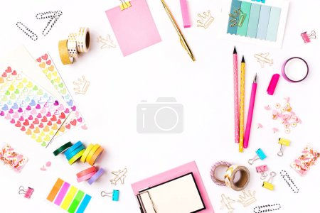 Photo for School stationery on blackboard framing. Flat lay, top view trendy back to school concept. - Royalty Free Image