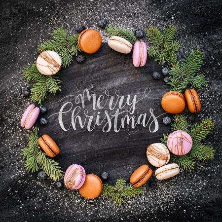 wreath of macaroons and Merry Christmas text