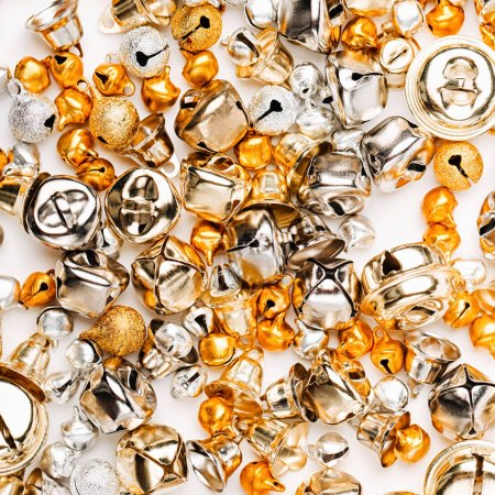 Golden and silver Jingle bells, Christmas background