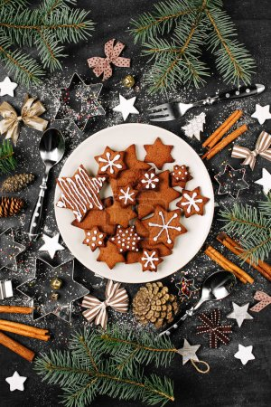 Delicious homemade Christmas gingerbreads composit...