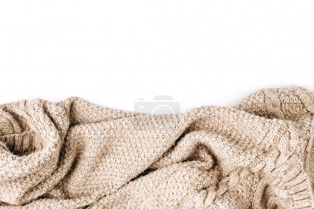 Photo for Warm knitted woolen scarf on white background - Royalty Free Image