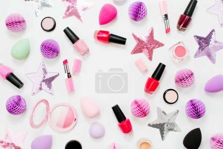 Set of beauty accessory and cosmetic products. Flat lay