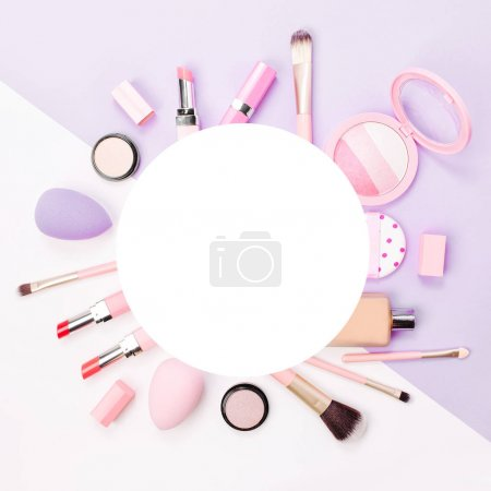 Frame made of female accessory and cosmetic products. Flat lay