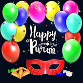 Hand written lettering with text Happy Purim.