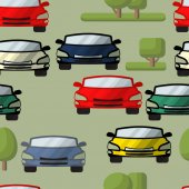 Vector seamless pattern of cars trees Automobile  background