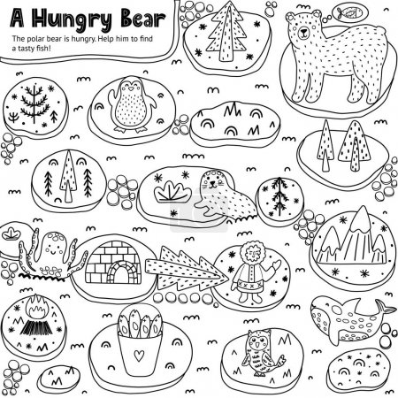 A Hungry Bear black and white labyrinth game for k...