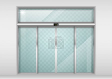 Illustration for Double sliding glass doors with automatic motion sensor. Entrance to the office, train station, supermarket. - Royalty Free Image
