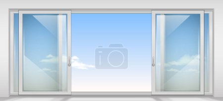 Illustration for Modern wide sliding door with transparent glass. Vector graphics. The interior of the room. - Royalty Free Image