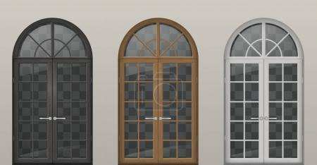 Illustration for Set of classic arched wooden doors for a balcony. Doors of different colors. Vector graphics - Royalty Free Image