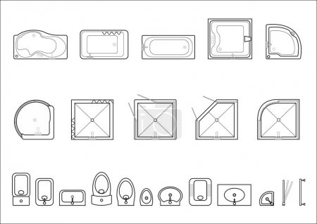 Ensemble d'icônes pour les plans architecturaux