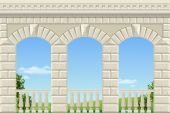 Balcony of a fabulous palace in classical style with a view of the green landscape Vector graphics
