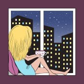 Girl on the windowsill and night city