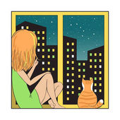 Night city and girl with cat