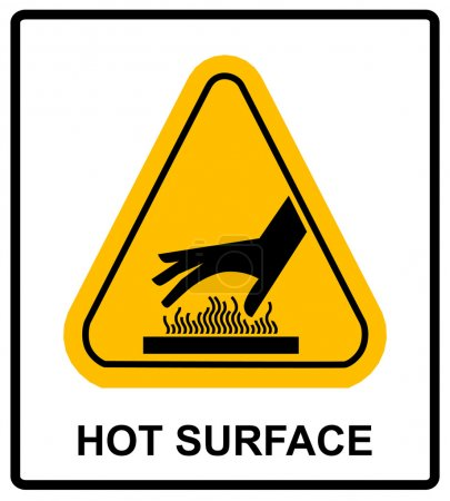 Illustration for Do not touch hot surface danger signs illustration vector informational sticker label vector for public places - Royalty Free Image