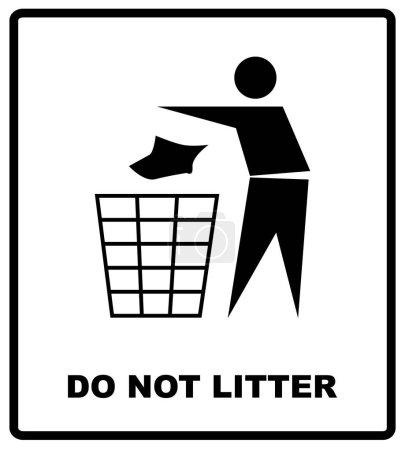 Illustration pour Aucune illustration vectorielle de signe de litière ne jettent pas autocollant d'interdiction pour les lieux publics dans le cercle rouge. illustration vectorielle - image libre de droit