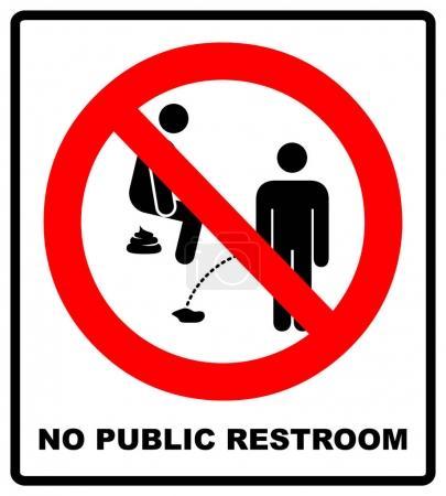 Illustration pour Pas de toilettes publiques ici. Pas de pipi ou de caca, signe d'interdiction, illustration vectorielle isolée sur blanc. Panneau d'avertissement en cercle rouge. Service interdit symbole pour lieu public . - image libre de droit