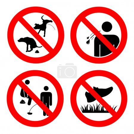 No pooping and peeing people and pets, do not walk on lawns, no spitting sign. Collection of symbols. Vector illustration isolated on white. For outdoors and public places
