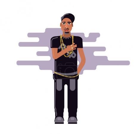 Illustration pour Jeune rappeur masculin debout avec la main droite sur son cœur isolé sur fond blanc. Illustration vectorielle de stock de jeunes incroyants, personne de style de vie moderne, chanteur de musique rap dans le style plat . - image libre de droit