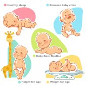Newborn baby care illustrations