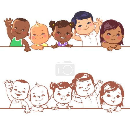 Smiling boys and girls of different races.