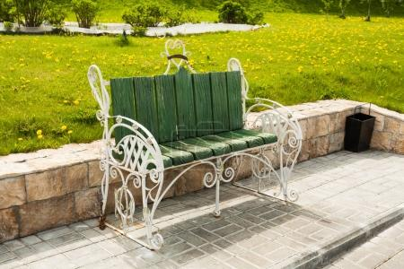 Green Bench On Embankment Of River Moscow In Kolomna, Moscow Reg