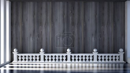 Beautiful interior with wooden wall and architectural elements.