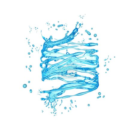 Beautiful clear blue water splash isolated on white background.