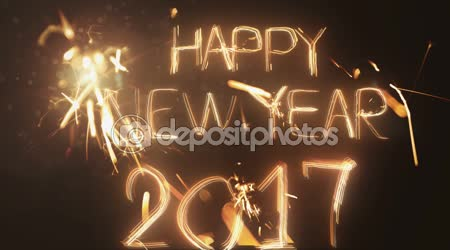 Happy New Year 2017 inscription sparklers on a black background .