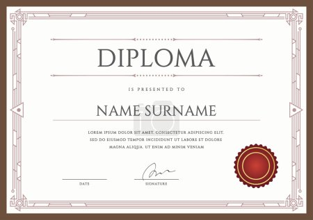 Diploma Design Template in Vector