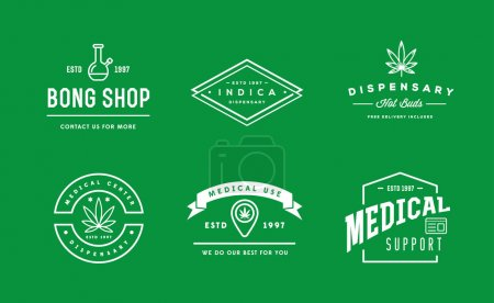 Illustration for Set of Medical Cannabis Marijuana Sign or Label Template in Vector. Can be used as a Logotype. - Royalty Free Image