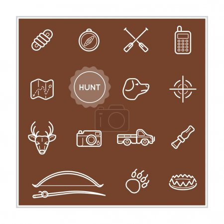 Set of Outdoor Hunting Vector Illustration Elements