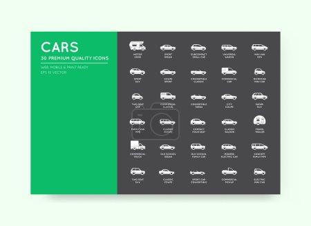 Illustration pour Ensemble d'icônes de voiture vectorielle avec tous les types et noms de voiture - image libre de droit