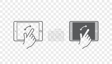 Icons with Hands Holding Smart Device with Gestures