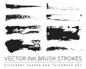 Set of Vector Pen Ink Brush Strokes