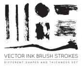 Set of Vector Pen Ink Brush Strokes Grunge Ink Brush Stroke Dirty Brush Stroke Dirty artistic design elements