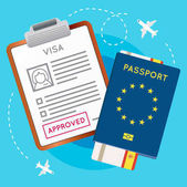 Eurozone Europe Visa Approved Stamp on Document Passport with Flight Aircraft Ticket Travel Immigration Stamp Vector Illustration