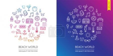 Set of Beach Modern Icons