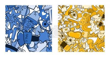 Zestaw wzór Graffiti z doodle ikony
