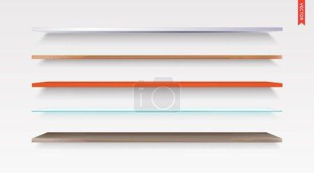 Set of Glass, Wood, Plastic, Metal Shelves