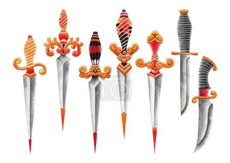 Photo pour Ensemble de couteaux décorés à l'aquarelle isolés sur fond blanc. Modèles peints à la main pour la conception de tatouage old school - image libre de droit