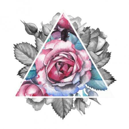 Photo pour Mignon aquarelle rose vignette dans la forme triangulaire. Design peint à la main isolé sur fond blanc . - image libre de droit
