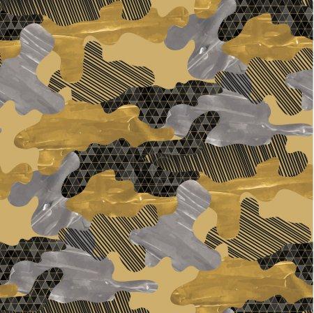 Illustration pour Modèle abstrait de camouflage sans couture. Design tendance en tissu noir, argent et doré avec texture acrylique . - image libre de droit