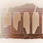Graphic half-ruined architecture with column in li...